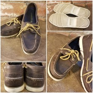 EUC Sperry Topsider Dark Brown Boat Shoes sz 8 1/2